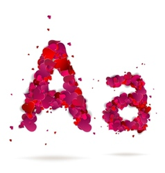 Letter A made from hearts Love alphabet vector