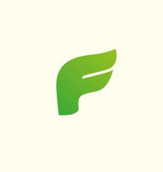 letter f logo design template elements eco leaf vector image