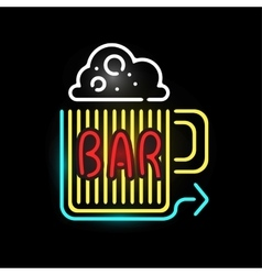 Light neon bar label vector image