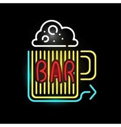 Light neon bar label vector