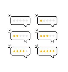 linear speechbubble rating stars vector image