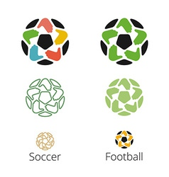 Logo with a soccer ball with hands like a star vector image
