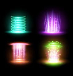 magic yellow portal and hologram ray beam vector image