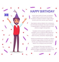 man celebrate birthday party flag cartoon person vector image