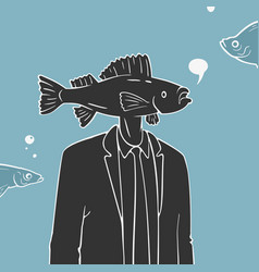 Man with fish head caricature vector