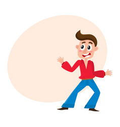 Man with forelock dancing at disco party in flare vector