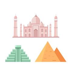maya and egyptian pyramids vector image