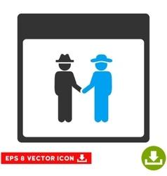 Men Handshake Calendar Page Eps Icon vector image