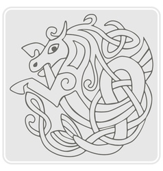 Monochrome icon with Celtic art vector