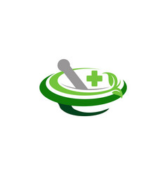 Mortar pestle logo pharmacy medical symbol icon vector