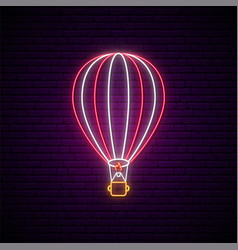 neon signboard for air balloons show hot air vector image
