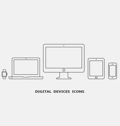 outline device icons vector image