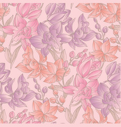 Pastel colors orchid floral seamless pattern vector