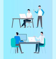 People working with online data coders designers vector