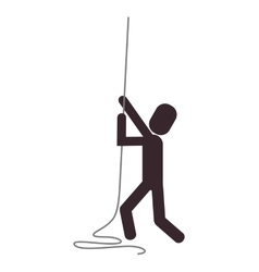Person climbing rope icon vector