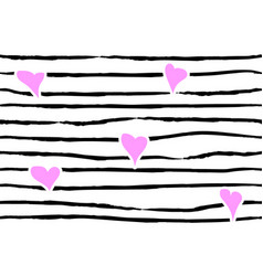 pink confetti heart on striped background vector image