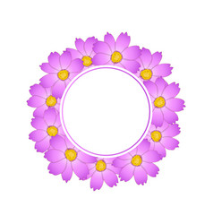 Pink cosmos flower banner wreath vector