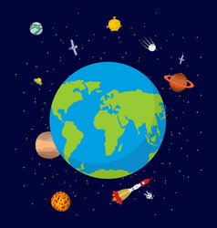Planet earth in space rocket and ufo stars and vector