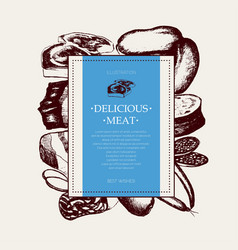 processed meat - hand drawn square postcard vector image
