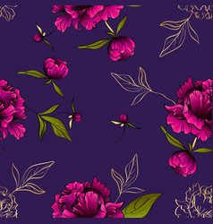 purple seamless pattern with peony flowers and vector image