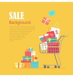Sale Background Cart with Gift Boxes Paper Bags vector image