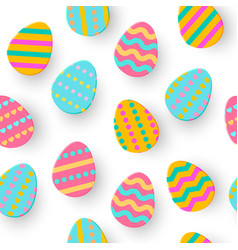 seamless pattern of easter egg paper cut cute vector image