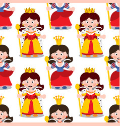 Seamless pattern with cartoon queens vector