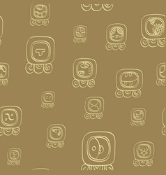 Seamless pattern with mayan glyphs vector