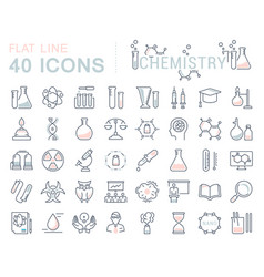 set flat line icons chemistry vector image