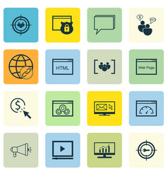 Set of 16 advertising icons includes media vector