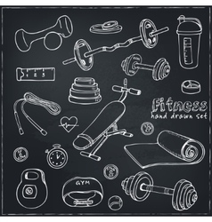 Set of Fitness bodybuilding diet and health care vector image