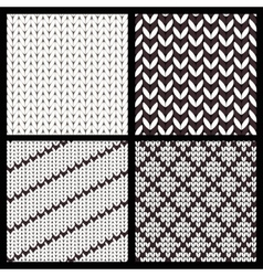 Set of Four Seamless Knitting Patterns vector