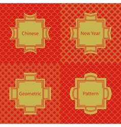 Set of geometric national chinese seamless pattern vector image
