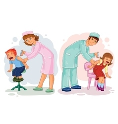 Set of little children vaccinations vector image