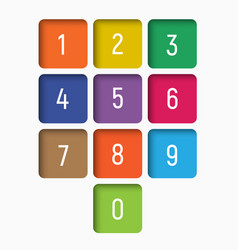 Set of numbers from 0 to 9 in multi-colored vector