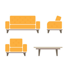 Set of sofa and armchair vector