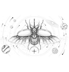 Solar system and rhinoceros beetle vector