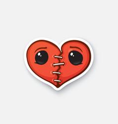 Sticker broken heart with eyes vector