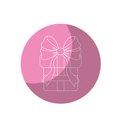 Sticker gift present with ribbon decoration to vector