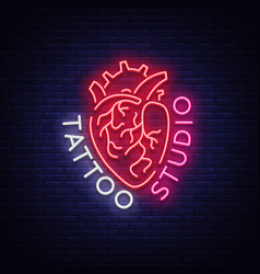 Tattoo studio logo neon sign symbol of human vector