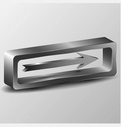 the 3d metallic arrow vector image