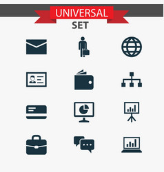 Trade icons set collection of earth presentation vector