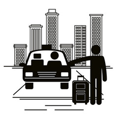 traveler with suitcase stopping a taxi vector image