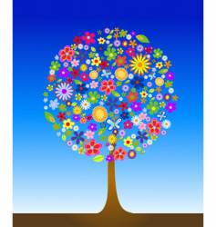 Tree with flowers vector