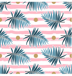tropical leaves seamless pattern green palm vector image