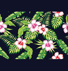 tropical plants and hibiscus flowers seamless vector image