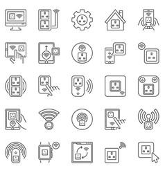uk smart socket outline icons set vector image