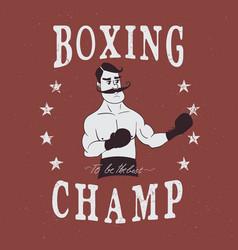 Vintage boxer label vector
