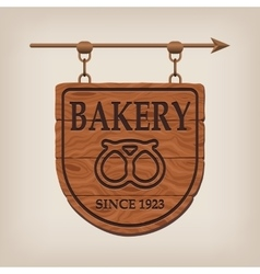 Vintage wooden bakery sign bakery vector