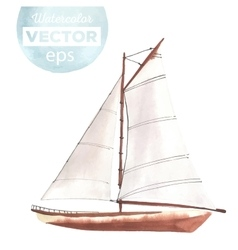 Watercolor boat with sails vector